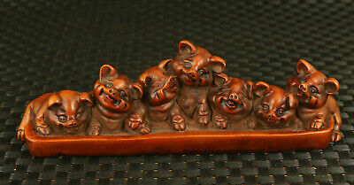 antique chinese old boxwood 7 lovely pig statue netsuke table home decoration