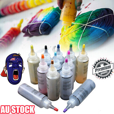 12 Colour Bottle Tie Dye Kit + 40 Rubber Band + 4 Pairs Vinyl Gloves DIY Kit RK