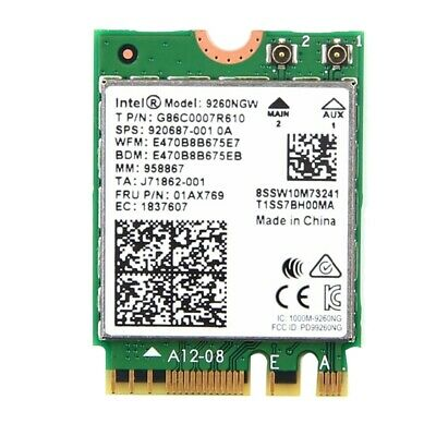 Dual Band Wireless-AC 9260 for Intel 9260NGW NGFF 802.11Ac MU-MIMO 1730Mbps K2J7