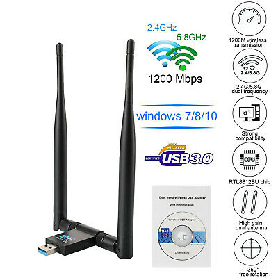 ADATTATORE USB 3.0 PC WIFI 1200 MBPS ANTENNA CHIAVETTA WIRELESS Internet WIFI