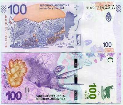 Argentina 100 Pesos Nd 2018 P New R-A Replacement Unc