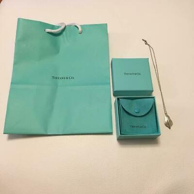 Tiffany & Co. Leaf Pendant Sterling Silver 925 Chain Necklace Rare Item w/Pouch