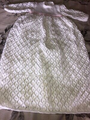 Hand Made Knitted Christening Gown 0-3 Months