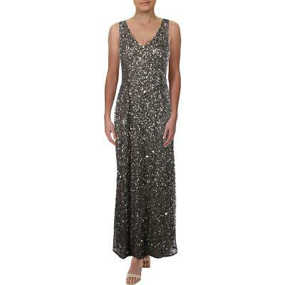 Adrianna Papell Womens Gray Embellished Formal Dress Gown Petites 12P BHFO 7243