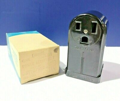 Leviton Black Power Receptacle Bakelite Surface Mount 50A 250V 2Pole 3-Wire 5378