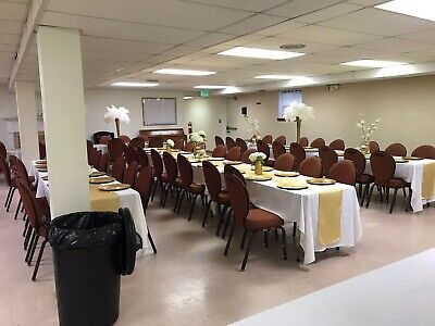 Banquet Chairs, Flex Back, Brown Frame, Brownish Fabric Good Condition