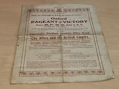 1919 Oxford Pageant of Victory Synoptic Programme University Football Ground