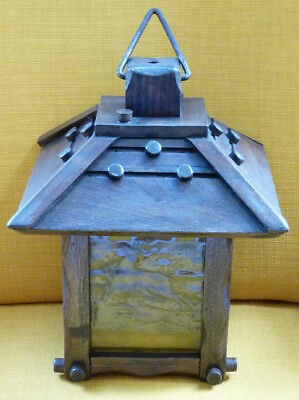 Late-19th Century German Black Forest Wooden Lamp – Coloured Inserts - Original