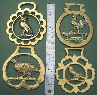 Four Horse Brasses: Bird Theme, Owl, Cockerel, Dove, Grouse, Free P&P, Brass