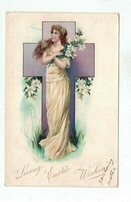 Antique Tuck Easter Post Card Beautiful Lady Lilies and Cross