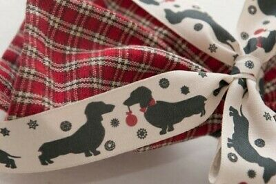 Christmas Sausage Dog Rbbon by Berisfords.Widths 15mm and 25mm Various Lengths