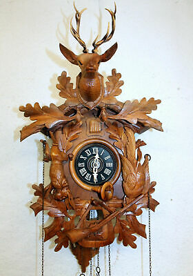 Old Clock Cuckoo Wall Clock Black Forest made in West Germany Regula 49cm heigth
