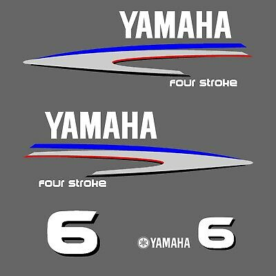 kit stickers YAMAHA 6 cv serie 2 - autocollant capot moteur hord-bord decals