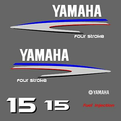 kit stickers YAMAHA 15 cv serie 2 - autocollant capot moteur hord-bord decals