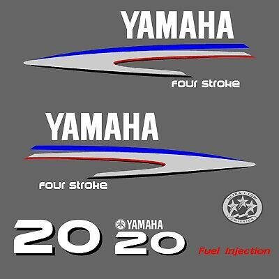 kit stickers YAMAHA 20 cv serie 2 - autocollant capot moteur hord-bord decals