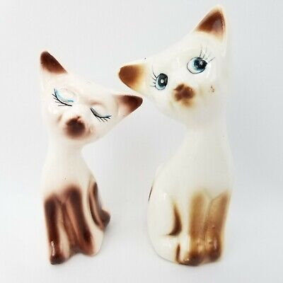 Vintage Porcelain Siamese Cats with Blue Eyes Salt & Pepper Shakers Figurines