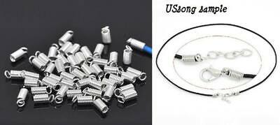 50pcs Silver Plated Coil End Crimp Fasteners size: 9x4mm Fits 2-2.5mm cord