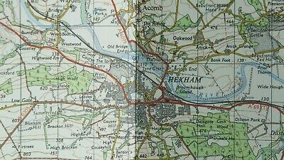 Ordnance Survey 1964 One-inch Seventh Series Map 77 Hexham Mounted on Cloth