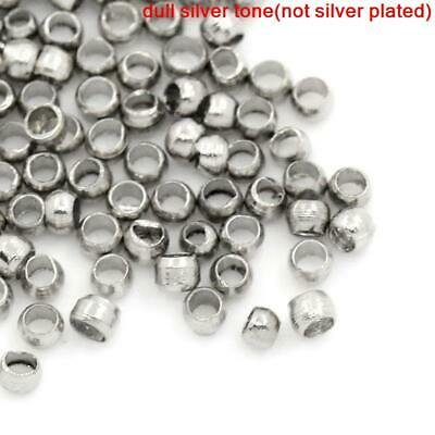 250pcs silver toned 1.5mm silver toned crimp bead tubes, wire ends