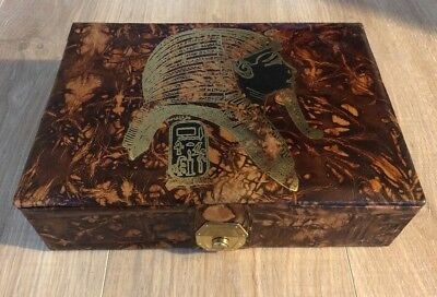 New Jewelry Box Genuine Camel Leather Ancient Egyptian Theme Gold Print