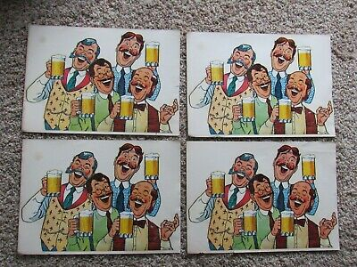 (4) NOS 1960 Pabst Blue Ribbon Beer Bar Window Decal Signs Unused 13x9 N MINT