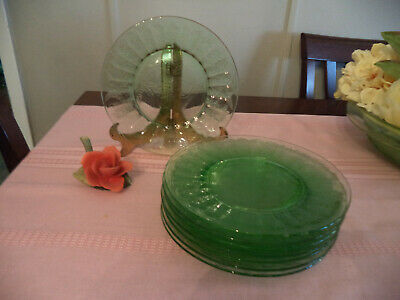 Set of 8 Green depression glass dinner plates in Floral/Poinsetta pattern