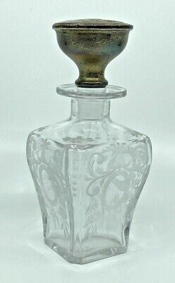 """Vintage Antique Scent Perfume Bottle Etched Glass w Sterling Silver Top 7"""""""