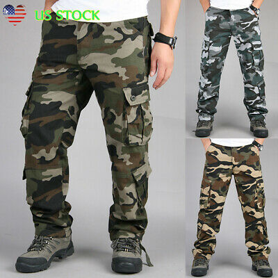 Men's Military Army Combat Trousers Tactical Work Camouflage Cargo Pockets Pants