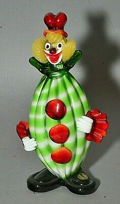 "Vintage Italian Murano Multicolored Glass Clown Figurine - Green Striped 9"" Tall"