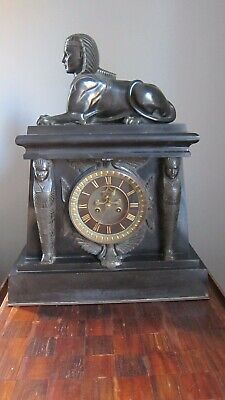 Stunning Large Antique Empire Egyptian Revival Clock with Sphinx & Pharaohs