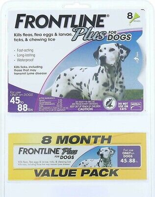 FRONTLINE Plus for Dogs - 8 Month Supply - 8 Dose Value Pack ( 45-88 lbs) NEW!