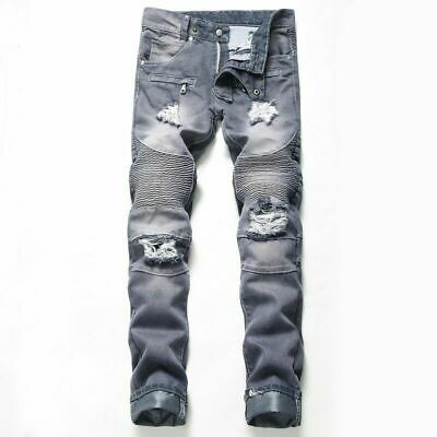 Mens boys Hole patch ripped denim jeans pants Skinny punk rock pants trousers