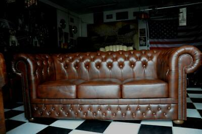 Chesterfield 3 Sitz Leder Sofa