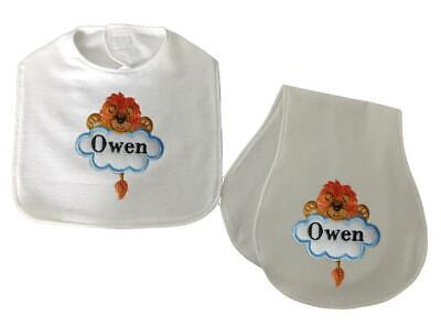 New Handmade Personalized Blue Embroidered Boy Lion Bib and Burp Cloth Set