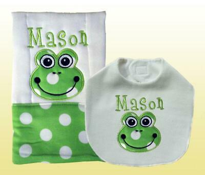 New Personalized Handmade Baby Green Frog Applique Bib and Burp Cloth Set