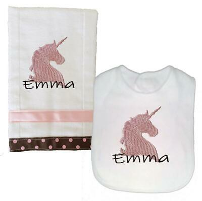 Personalized Embroidered Pink Brown Unicorn Theme Bib and Burp Cloth Set