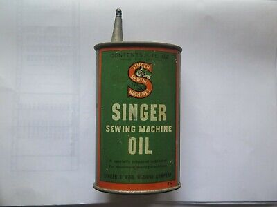 SINGER SEWING MACHINE OIL HANDY OILER 3 FL OZ TIN c1940 & MADE in GREAT BRITAIN