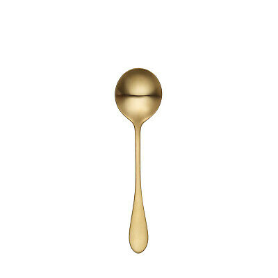 12x Soup Spoon 180mm Stainless Steel Soho Gold Tablekraft Commercial Cutlery