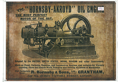 The Hornsby-Akroyd Oil Engine Metal Reprod Sign (WAR310)