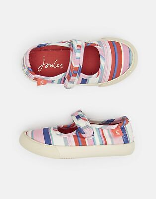 Joules Girls Funday Canvas Strap Pumps in CREAM PINK STRIPE