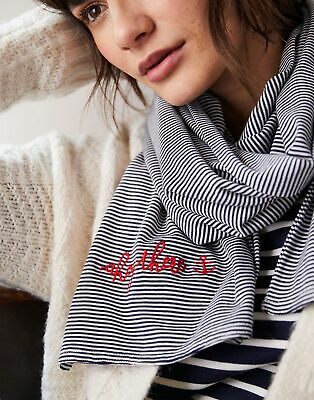 Joules Womens Coast Striped Embroidered Scarf in NAVY STRIPE in One Size