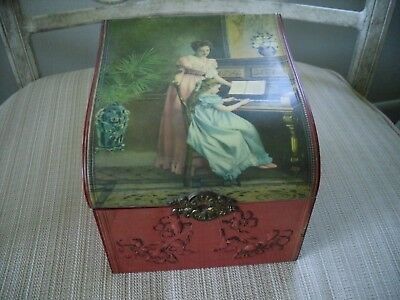 Antique Vintage Victorian Jewelry Or Trinket Box Girl Playing Piano Rare Old