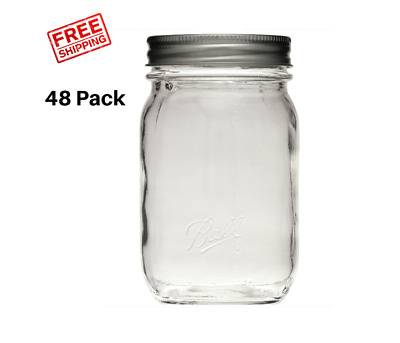 16 oz Smooth Glass Mason Pint Jars with Lids and Bands Regular Mouth