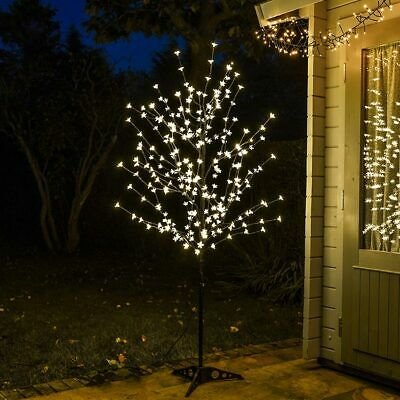 6ft Pre Lit LED Blossom Twig Christmas Tree Decoration Outdoor | Remote Control