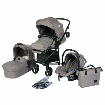 Roma Vita 2 Travel System  - Grey Pram Including Car Seat, Bag, PVC, Footmuff CH