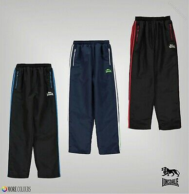 Boys Lonsdale Drawstring Two Stripe Woven Jogging Pants Sizes from 7 to 13