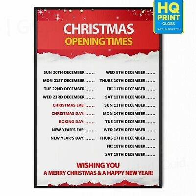 Christmas Merry Xmas Opening Hours Times Shop Sign AdvertisementA4 A3 A2 A1