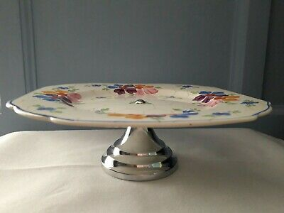 Art Deco Handpainted Tazza/Cake Plate on a Chrome Stand