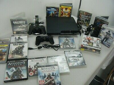 Sony Playstation 3 Slim 160Gb Bundle Console 2 Controllers 20 Games And More