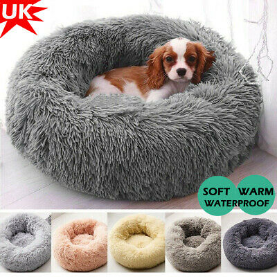 Pet Dog Calming Bed Donut Soft Warm Marshmallow Cat Bed Sleeping Cushion Mat UK